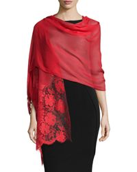 Valentino - Multicolor Floral Lace Trimmed Shawl - Lyst