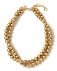 Banana Republic - Metallic Sparkle Pearl Necklace Gold - Lyst
