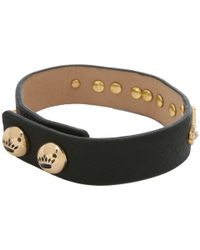 Juicy Couture - Black Love and Daisy Stud Leather Bracelet - Lyst