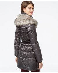 Betsey Johnson - Metallic Faux-fur-collar Belted Puffer Coat - Lyst