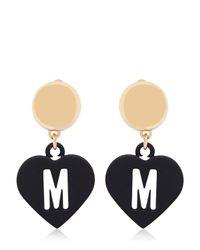 Moschino - Metallic Love Pendant Earrings - Lyst
