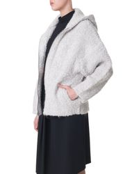 Tibi | Natural Boucle Cozy Hooded Cardigan | Lyst