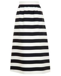 Valentino - Black Striped Midi Skirt - Lyst
