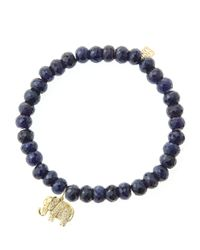 Sydney Evan - Black 6mm Faceted Sapphire Beaded Bracelet With 14k Gold/diamond Small Elephant Charm (made To Order) - Lyst