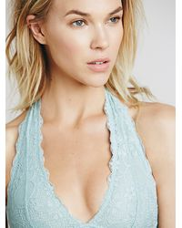 Free People - Blue Intimately Womens Galloon Lace Halter Bra - Lyst