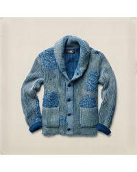 RRL Blue Indigo Cotton Shawl Cardigan for men