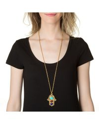 Ben-Amun | Metallic Long Hamsa Necklace | Lyst