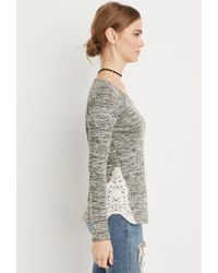 Forever 21 | Green Crochet-paneled Marled Top | Lyst