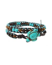 Aeravida - Blue Timeless Ocean Sea Turtle Tiger's Eye And Turquoise Double Wrap Bracelet - Lyst