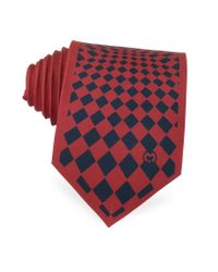 Mila Schon | Red And Navy Blue Optical Print Silk Tie for Men | Lyst