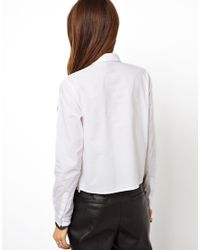 ASOS | White Shirt with Heavy Ethereal Lace Panel | Lyst