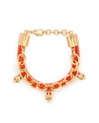 Alexander McQueen | Orange Skull Charm Chain Leather Bracelet | Lyst