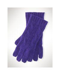 Polo Ralph Lauren | Purple Cable-knit Cashmere Gloves | Lyst