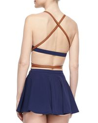 Michael Kors | Blue Strappy Belted Skirted Two-piece Swimsuit | Lyst