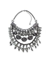 Zara | Metallic Necklace with Stones and Combination Chains | Lyst