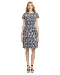Brooks Brothers | Blue Lace And Seersucker Gathered Dress | Lyst