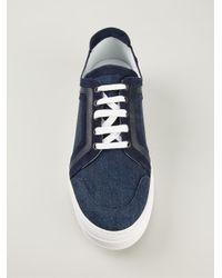 Pierre Hardy - Blue Paneled Denim Sneakers for Men - Lyst