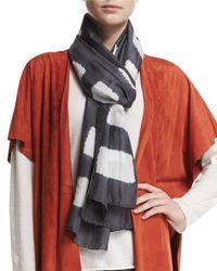 Eskandar - Gray Square Block-striped Shibori Silk Scarf - Lyst