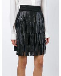 Emanuel Ungaro - Black Fringed Mini Skirt - Lyst