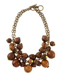 Lela Rose | Brown Wooden Bauble Bib Necklace | Lyst
