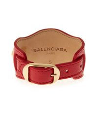 Balenciaga - Red Double Stud Leather Bracelet - Lyst