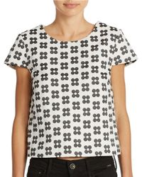 Kensie - Black Floral Top - Lyst