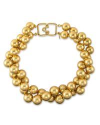 Kenneth Jay Lane | Metallic Satin Gold Bead Necklace | Lyst