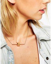 ASOS | Metallic Metal Bar & Stone Necklace | Lyst