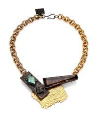 Kelly Wearstler | Metallic Tensile Smoky Quartz, Labradorite & Black Druzy Necklace | Lyst