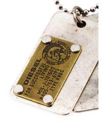 DIESEL | Metallic 'ategi' Dog Tag Necklace for Men | Lyst