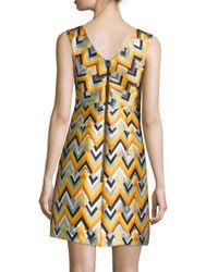 MILLY - Multicolor Bridgette Sleeveless V-neck Chevron Dress - Lyst