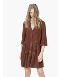Mango - Brown Textured Pleats Dress - Lyst
