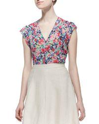 Joie - Blue Macy D Silk Floral-print Blouse - Lyst