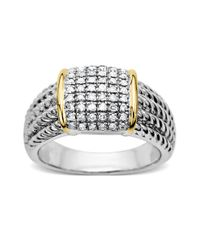 Lord & Taylor | Metallic Diamond Accented Ring In Sterling Silver With 14 Kt. Yellow Gold | Lyst