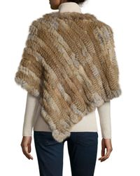 Love Token - Natural Diagonal Rabbit-fur Poncho - Lyst