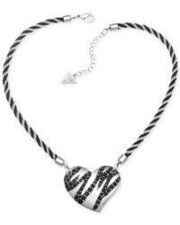 Guess - Metallic Silver-tone Black Stone Striped Heart Pendant Necklace - Lyst