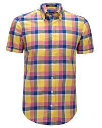 GANT - Yellow Linen Short Sleeve Check Shirt for Men - Lyst