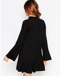 ASOS - Black Swing Dress With Flared Sleeve And Keyhole - Lyst