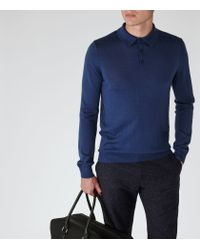 Reiss | Blue Mansion Merino Wool Polo Shirt for Men | Lyst