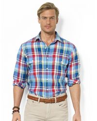 Polo Ralph Lauren | Blue Polo Ralph Lauren Custom Fit Multi Check Shirt for Men | Lyst