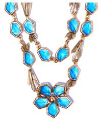 Oscar de la Renta - Light Blue Crystal Flower Necklace - Lyst