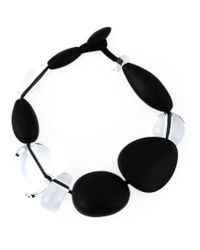 Monies | Black Oversized Stones Necklace | Lyst