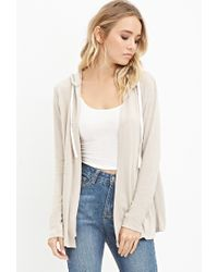 Forever 21 | Natural Drawstring Hooded Cardigan | Lyst
