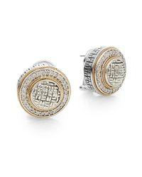 Effy | Metallic 925 Diamond, Sterling Silver & 18k Yellow Gold Button Earrings | Lyst