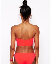 ASOS - Pink Quilted Zip Front Bandeau Bikini Top - Lyst