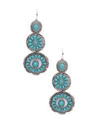 Forever 21 | Blue Faux Stone Medallion Drop Earrings | Lyst