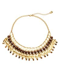 Lauren by Ralph Lauren | Metallic Mother-Of-Pearl And Tigers Eye Beaded Bib Necklace | Lyst