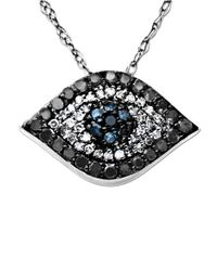 Lord & Taylor | Metallic Diamond Evil Eye Pendant In 14 Kt. White Gold 0.33 Ct. T.w. | Lyst
