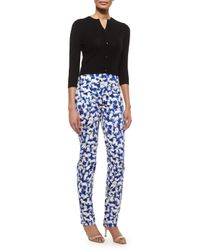Carolina Herrera - White Flat-front Gaspar-print Slim-fit Pants - Lyst