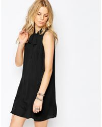 Glamorous | Black Shift Dress With Skinny Scarf Pussybow | Lyst